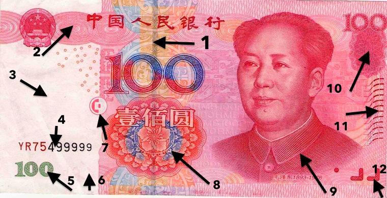 Лицевая сторона купюры номиналом 100 юаней
