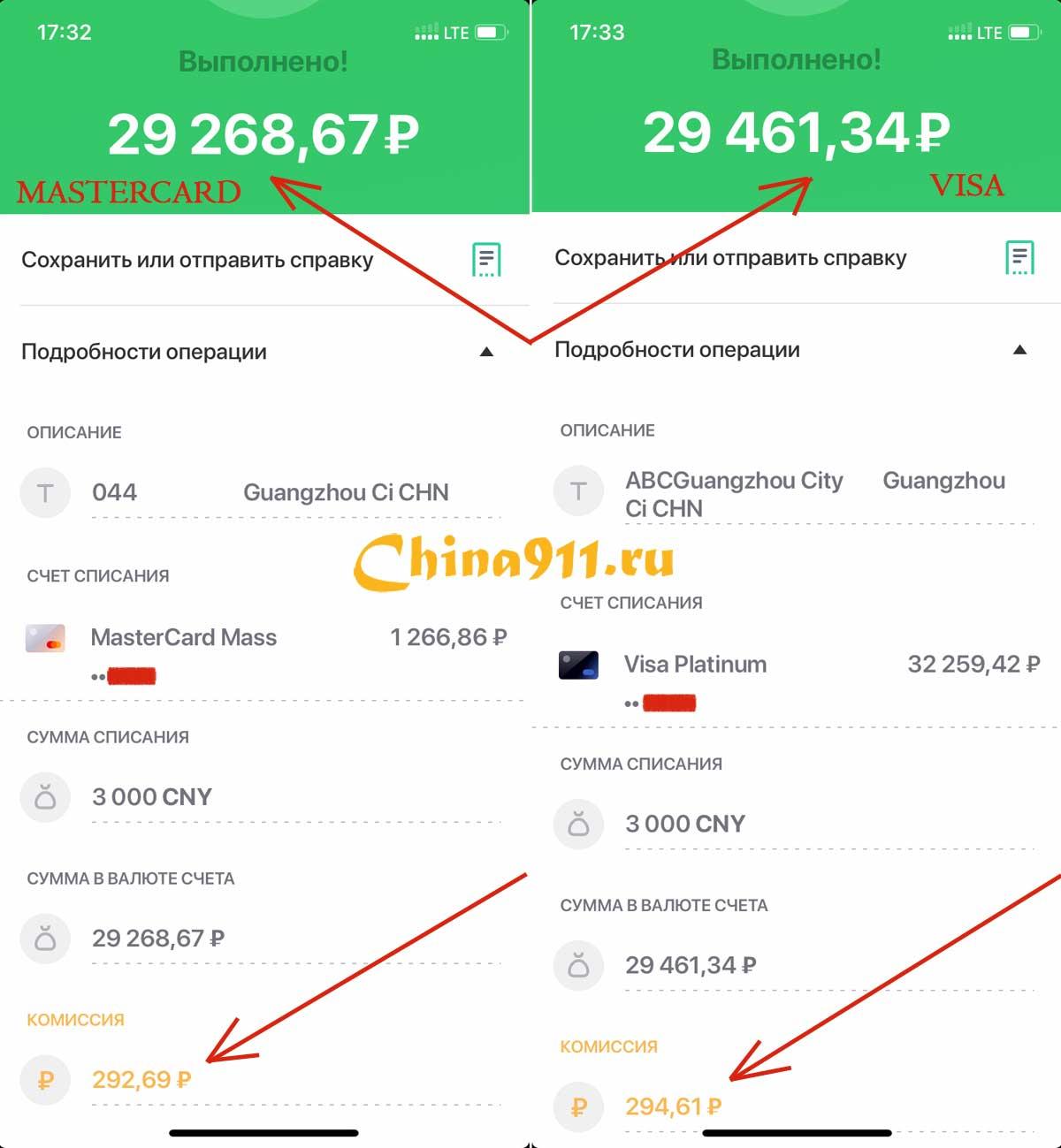 visa и mastercard сбербанка в Китае